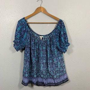 Joie Blue Purple Floral Silk Top Size Medium